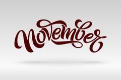 November-typografie Moderne borstelkalligrafie Word op licht geïsoleerde achtergrond Het vector van letters voorzien voor groetka royalty-vrije illustratie