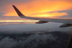 Travelling with Wizzair. Beatiful colorful sunset stock images