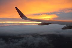 Travelling with Wizzair. Beatiful colorful sunset royalty free stock photos