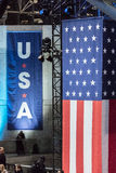 NOVEMBER 8, 2016, USA Flag Election Night at Jacob K. Javits Center - venue for Democratic presidential nominee Hillary Clinton el Royalty Free Stock Images