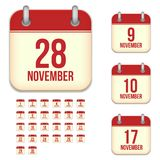 November vector calendar icons Royalty Free Stock Photo