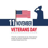 11 November Veteran Day Banner Design On White Background With Us Military Forces Soldier And Copy Space. Vector Illustration Stock Photos