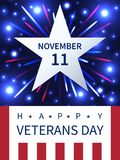 11 November, Veterans Day firework banner. 11 November, Veterans Day banner design with a star, firework and elements of American flag Royalty Free Stock Photos