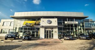 16 of November - Vinnitsa, Ukraine. Showroom of Volkswagen VW. 16 of November - Vinnitsa , Ukraine. Showroom of Volkswagen VW royalty free stock image
