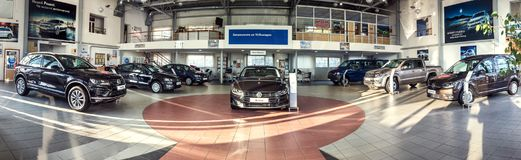 16 of November - Vinnitsa, Ukraine. Showroom of Volkswagen VW  -. 16 of November - Vinnitsa, Ukraine.Showroom of Volkswagen VW  - panorama Royalty Free Stock Photos