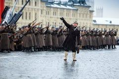 05 NOVEMBER, 2016: Volledig-kledingsrepetitie van de parade, gewijd aan 7 November, 1941 op Rood Vierkant in Moskou Royalty-vrije Stock Afbeeldingen