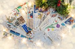 06 November 2018 Voronezh, Russia. Pile of written Christmas postcards with holiday greetings. royalty free stock photos