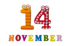 November 14 on white background, numbers and letters. Calendar stock illustration