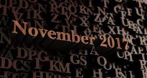 November 2017 - Wooden 3D rendered letters/message. Can be used for an online banner ad or a print postcard Royalty Free Stock Photos