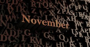 November - Wooden 3D rendered letters/message Royalty Free Stock Photos