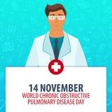 14 November. World Chronic Obstructive Pulmonary Disease day. Medical holiday. Vector medicine illustration. Stock Photos