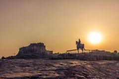 05 november, 2014: Zonsondergang bij het Mehrangarh-fort in Jodhpur, Ind. Stock Foto