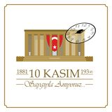 10 novembre, anniversaire de Mustafa Kemal Ataturk Death Day illustration de vecteur