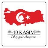10 novembre, anniversaire de Mustafa Kemal Ataturk Death Day illustration libre de droits