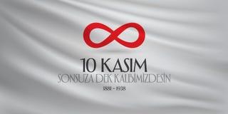 10 novembre, anniversaire de Mustafa Kemal Ataturk Death Day Jour du Souvenir d'Ataturk Conception de panneau d'affichage illustration libre de droits
