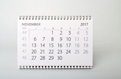 novembre Calendario dell'anno due mila diciassette Immagini Stock Libere da Diritti