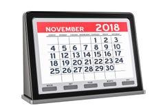 Novembre 2018 calendario digitale, rappresentazione 3D Immagine Stock Libera da Diritti