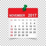 Novembre 2017 calendrier illustration stock