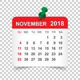 Novembre 2018 calendrier Calibre de conception d'autocollant de calendrier Semaine s illustration libre de droits