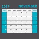 Novembre 2017 débuts de semaine de calendrier de novembre dimanche Photographie stock