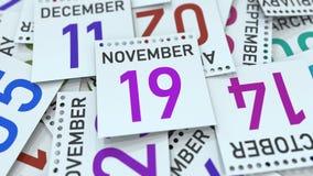19 novembre date sur la feuille de calendrier entre d'autres feuilles, rendu 3D illustration stock