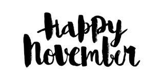 Novembre felice, iscrizione calligrafica nera di vettore immagini stock