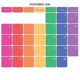 novembre 2018 grands jours de la semaine de couleur de l'espace de note de planificateur sur le blanc Image libre de droits