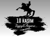 10 novembre, il fondatore della Repubblica Turca m. k Anniversario di morte del ` s di Ataturk Inglese: 10 novembre 1881 - 1938 F Immagini Stock Libere da Diritti