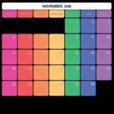 novembre 2018 jours de la semaine spécifiques de couleur du grand espace de note de planificateur Images stock