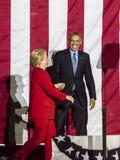 7 NOVEMBRE 2016, L'INDÉPENDANCE HALL, PHIL , PA - le Président Obama et candidat démocrate à la présidentielle Hillary Clinton Ho Image libre de droits