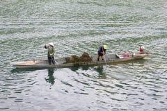 Novembre 2018, la gente che raccoglie la barca di fiume del figlio delle piante dell'erbaccia, Phong Nha, Vietnam immagine stock