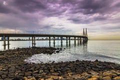 15 novembre 2014 : Panorama du bridg de lien de mer de Bandra†«Worli Photographie stock libre de droits