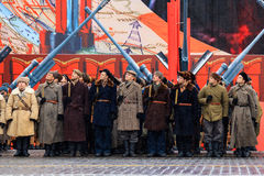 5 NOVEMBRE 2016: Ripetizione dell'abito da sera della parata, dedicata al 7 novembre 1941 sul quadrato rosso a Mosca Fotografie Stock