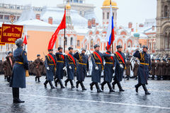 5 NOVEMBRE 2016: Ripetizione dell'abito da sera della parata, dedicata al 7 novembre 1941 sul quadrato rosso a Mosca Fotografie Stock Libere da Diritti