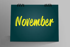 Novembre scritto in calendario da tavolino Fotografia Stock