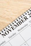 Novembre sul calendario. Immagini Stock