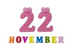 22 novembre sur le fond, les nombres et les lettres blancs Photographie stock libre de droits