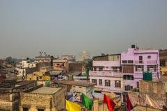 2 novembre 2014: Taj Mahal nella distanza a Agra, India Fotografia Stock Libera da Diritti