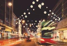 13 novembre 2014 via di Oxford, Londra, decorata per il Natale Immagini Stock Libere da Diritti