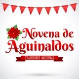 Novena de aguinaldos - el noveno del español de las primas manda un SMS stock de ilustración
