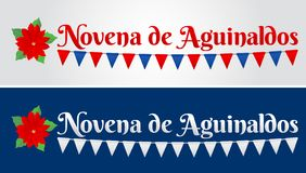 Novena de aguinaldos, Ninth of Bonuses Spanish text, Christmas tradition in Colombia stock illustration