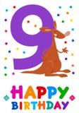 Noveno diseño de la tarjeta de felicitación de la historieta del cumpleaños ilustración del vector