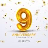 Noveno vector del número de la celebración del nacimiento del aniversario stock de ilustración