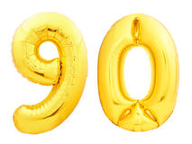 Noventa dourada do número 90 feita do balão inflável Foto de Stock