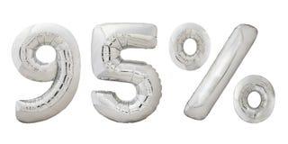 Noventa y cinco globos metálicos del cromo del por ciento Fotografía de archivo libre de regalías