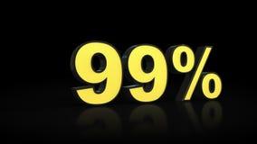 Noventa y nueve representación del por ciento 3D del 99% ilustración del vector