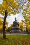 novgorod Ρωσία veliky Η χιλιετία μνημείων χαλκού της Ρωσίας στη νεφελώδη ημέρα φθινοπώρου Στοκ φωτογραφία με δικαίωμα ελεύθερης χρήσης