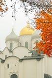 novgorod Ρωσία veliky Κινηματογράφηση σε πρώτο πλάνο του καθεδρικού ναού Αγίου Sophia στην ομίχλη φθινοπώρου Στοκ Εικόνες
