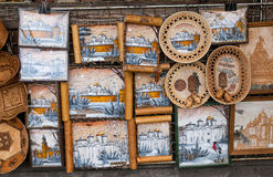NOVGOROD - AUGUST 10: Large selection of Russian handmade souven Stock Images