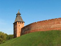 Novgorod citadel 3. The wall and tower of Novgorod citadel, XV century Royalty Free Stock Photo